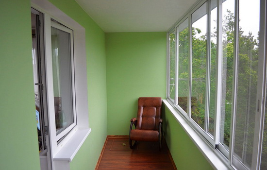 Балкон, отделанный гипсокартоном