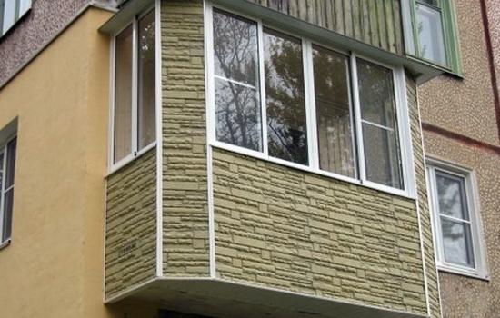 Наружняя отделка балкона искусственным камнем