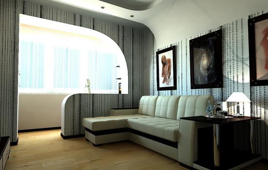 Объединение гостиной с балконом