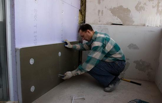 Утепление стен балкона пенопластом